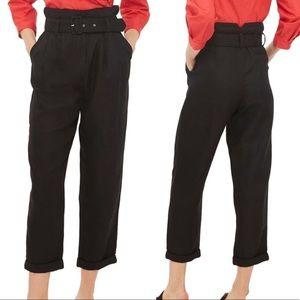 Topshop high waist paper bag belted trouser pants